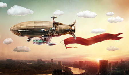 airship: Concept art. Dirigible with a banner, in the sky over a city.