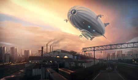 luftschiff: Dirigible im Himmel über. Digitale Kunst.