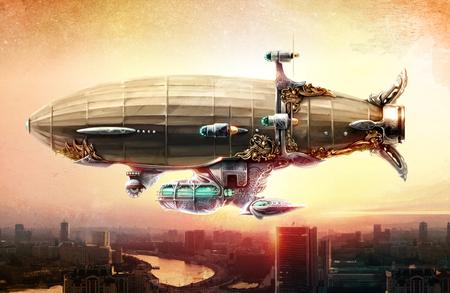 Concept kunst. Dirigible ballon in de lucht boven een stad.
