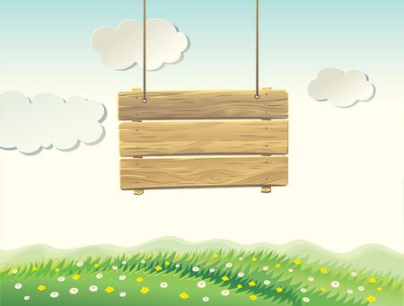 summer sign: Wooden sign board in summer landscape.