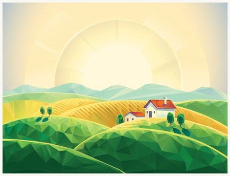 Summer countryside landscape with village. Sunrise. Polygonal illustration.
