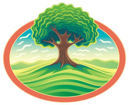 arbol genealógico: árbol en el marco. Paisaje de la naturaleza con el árbol.