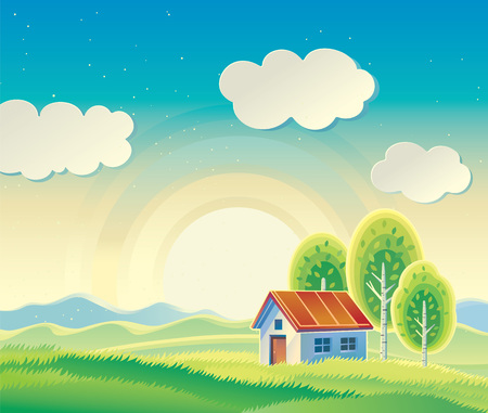 hilly: Rural hilly landscape with a house and three trees.