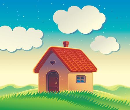 Huis op de heuvel, illustratie van een heuvelachtig landschap met een landhuis in cartoon-stijl.
