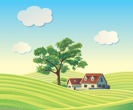 crops: rural landscape with the houses. Illustration