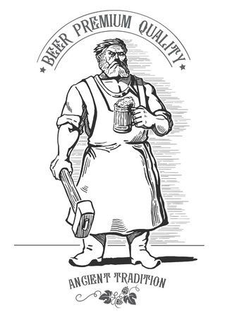 Blacksmith, holding a mug of beer and a symbolic element - drawn hops. Illustration