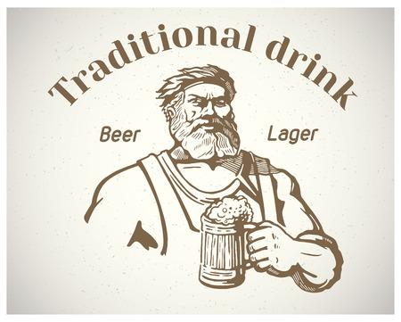 metalwork: Happy Brewer. Sraftsman, holding a mug of beer.