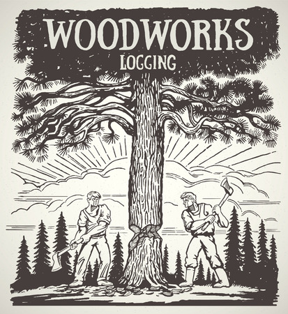 forest landscape: Two lumberjack chopped the tree with axes. Illustration