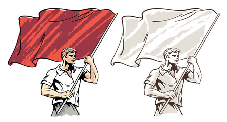 Man with a flag in his hands. Illustration