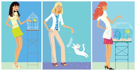 adroitness: Set Illustration: Girls and with pets.