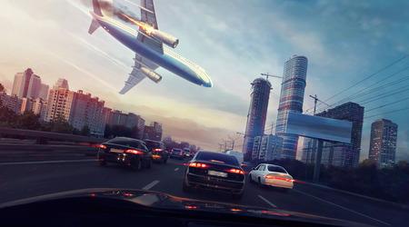Vliegtuigongeluk in de stad. Vallende brandende vliegtuig. Het uitzicht vanuit de auto. Digitale schilderij.