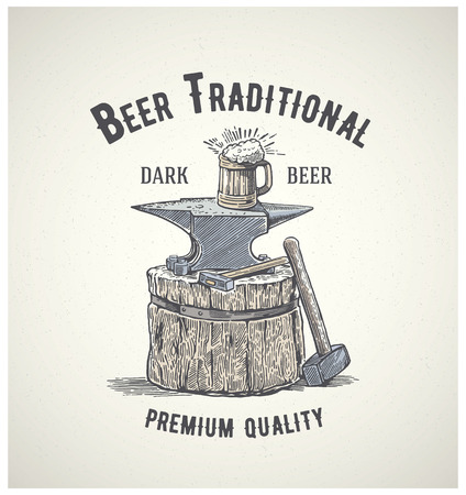 Blacksmith's anvil with a mug of beer on it. Vector Illustration