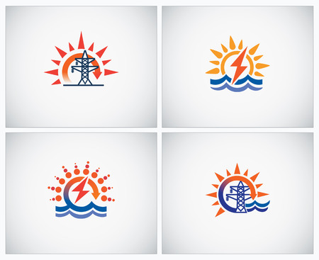 hydro: Set symbols on theme: hydro power and electricity.