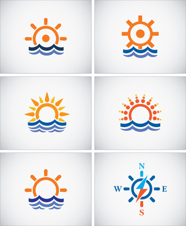navigation icons: Set icons of sea navigation. Illustration