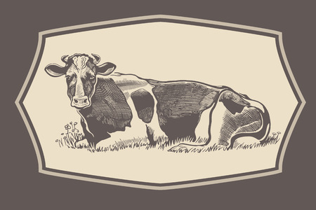 moo: Cow in graphical style in the frame.