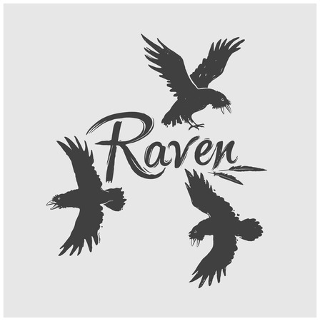 carrion: Flock of raven in flight with the inscription: Raven.