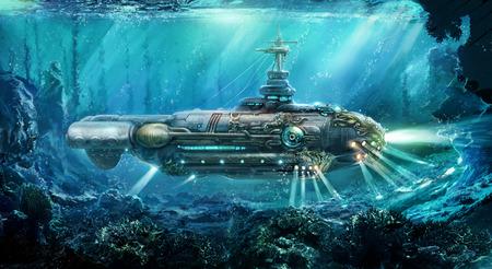 Fantastische onderzeeër in zee. Concept kunst. Stockfoto