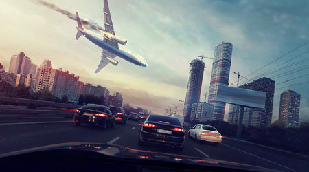 都市の平面クラッシュがあります。非常に熱い航空機を落ちています。車からの眺め。デジタル絵画。