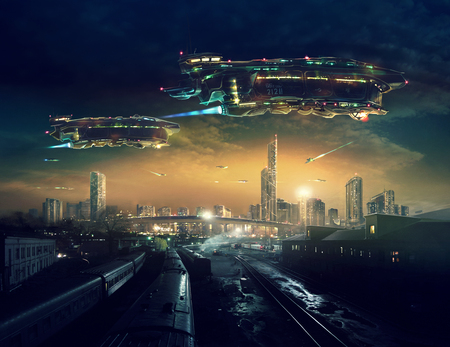 Urban landscape of post apocalyptic future with flying spaceships. Life after a global war. Digital art. 版權商用圖片