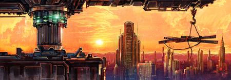 Fantastic evening city of the future. Digital Art.
