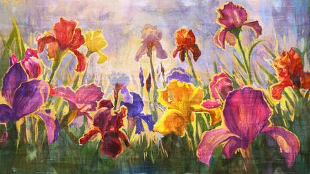 Illustration flowers Irises - imitation oil on canvas.