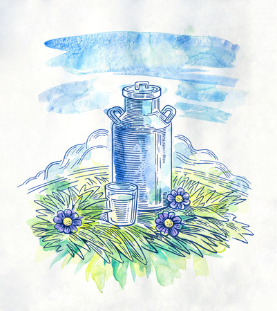 milk cans: Milk cans with glass of milk. Watercolor illustration in graphic style.