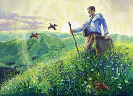 open air: Summer landscape with the artist in the open air and flying quails. Artist en open air. Digital Art. Stock Photo