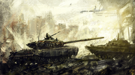 전쟁, 전투 탱크. 디지털 아트. 디지털 이미지는 저자의 브러시를 사용하여 디지털 편집기에 그려집니다. 스톡 콘텐츠