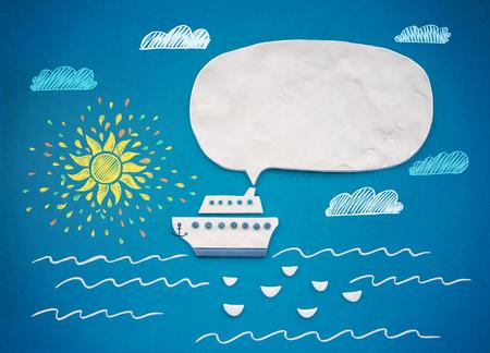 copy paste: Seascape and Ship for speech bubble. Plasticine illustration.