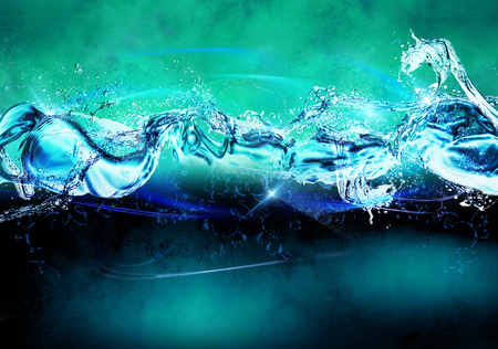 simulation: Bright background with a splash of water. Splash water elements. Simulation water.