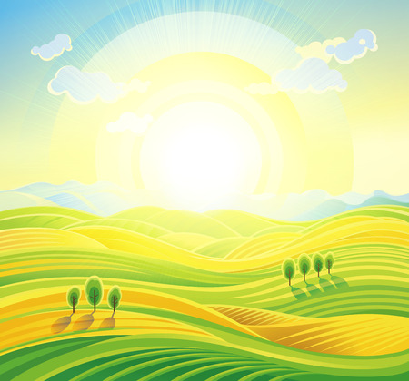 country life: Landscape background. Summer sunrise rural landscape with rolling hills and fields.