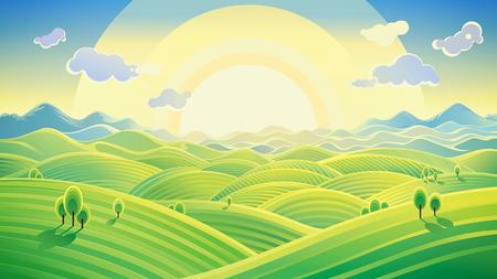 Zonnige heuvellandschap. Raster illustratie kan worden gebruikt als achtergrond. Raster illustratie. Stockfoto