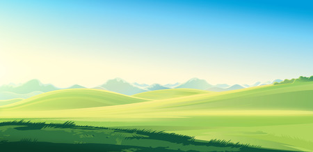 Summer country landscape. Summer mountain landscape, raster illustration. It can be used as background. Dawn over the mountains.