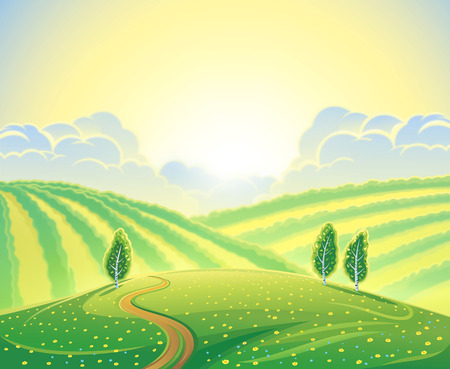 rural road: Summer rural landscape with hills and road. Sunrise over the hills that morning. Stock Photo