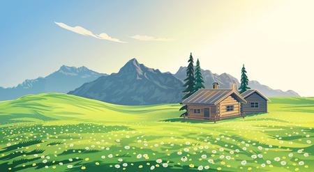 raster illustration: Mountain alpine landscape with houses. Raster illustration.