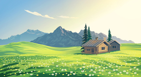 Mountain alpine landscape with houses. Raster illustration.