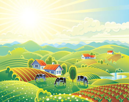 rural houses: Summer rural landscape with village. Stock Photo