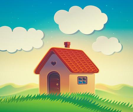 Haus auf dem Hügel, Illustration einer hügeligen Landschaft mit einem Landhaus im Cartoon-Stil. Standard-Bild