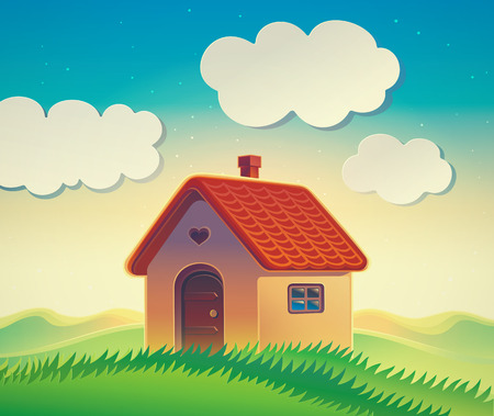 country life: House on the hill, illustration of a hilly landscape with a country house in cartoon style.