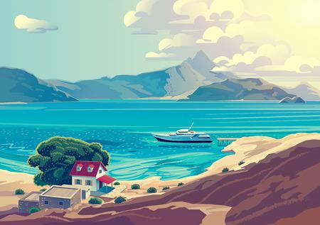 paisaje mediterraneo: Mar mediterráneo paisaje con el yate y el campo casa.