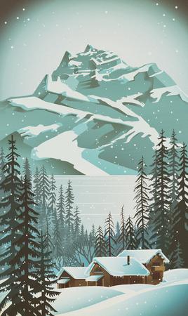 Paysage d'hiver et le village (base de ski) dans le style rétro. Banque d'images - 62115491