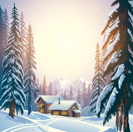 wilds: Winter forest mountain landscape with the houses. Shelter for tourists. Stock Photo