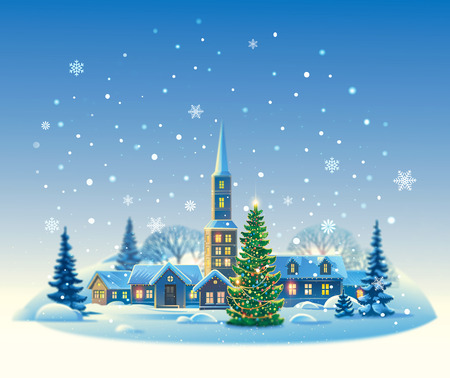snow landscape: Winter rural landscape with Christmas tree. Stock Photo