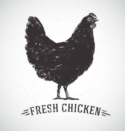 Graphical silhouette chicken and inscription. Illustration