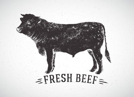 Grafische silhouet stier en inschrijving, met de hand getrokken illustratie.