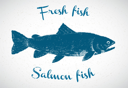 spawn: Silhouette of salmon in the graphic style, hand-drawn illustration.