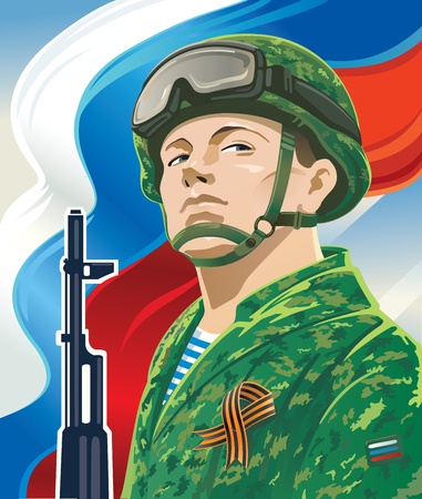 Russian soldier on the background of the Russian flag and kalashnikov and george ribbon.