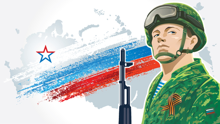 invincible: Russian soldier and kalashnikov on the background of the Russian flag, and the geographical contour country Russia.
