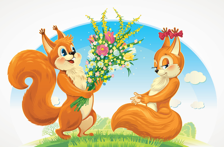 rendezvous: Squirrel character - boy, give flowers squirrel character girl, congratulations to her for the holiday.