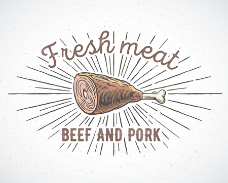 pig roast: Meat knuckle in graphic style and inscriptions.